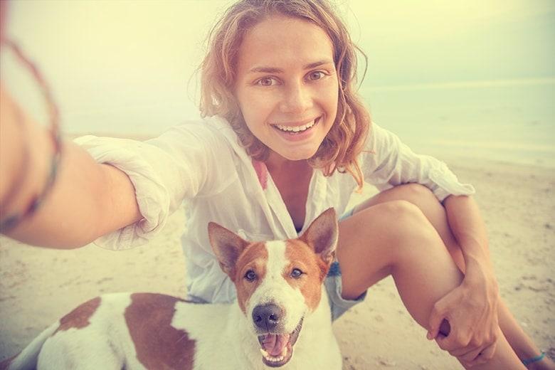 Hund och kvinna på stranden